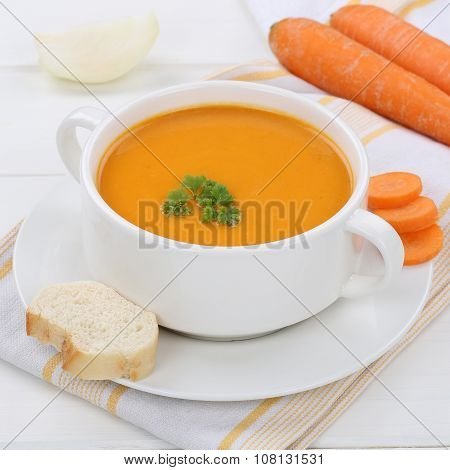 Carrot Soup With Fresh Carrots In Bowl Healthy Eating