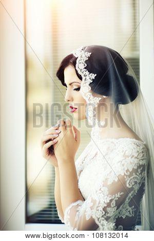 Pensive Brunette Bride