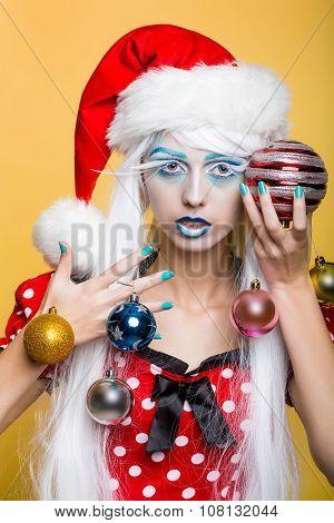 Woman With Christmas Balls