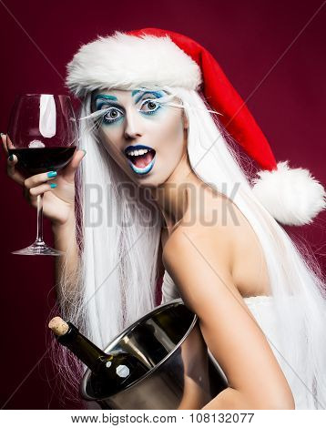 New Year Woman With Wine