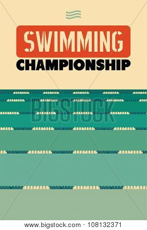 Typographical vintage style poster for Swimming Championship. Retro vector illustration.