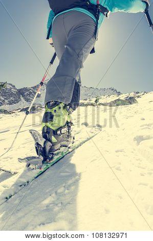 Skier ascending a slope.