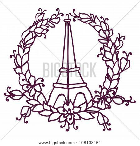 Hand drawing Eiffel Tower and Floral wreath. Pray for Paris.