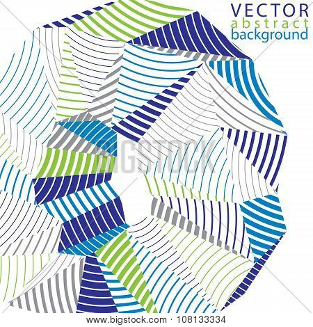 3D Vector Abstract Design Object, Polygonal Complicated Background. Colorful Three-dimensional Defor