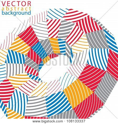3D Modern Stylish Abstract Stripy Background, Origami Facet Vector Object Constructed From Different