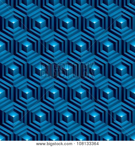 Regular blue textured Endless Pattern With Three-dimensional Cubes, Continuous