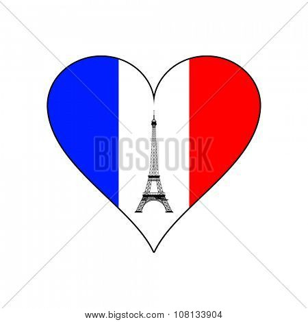 Eiffel tower in the middle of heart in the colors of the French flag