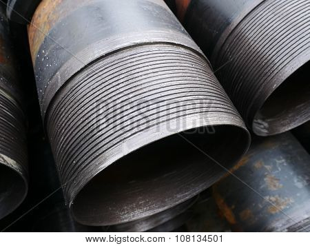 Stack Of Flush Joint Connection Oil Well Casing (pin End) Bundles .