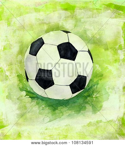 A drawing of a football (soccer) ball on a textured artistic background