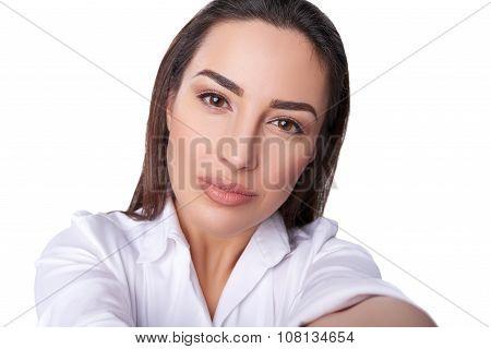 Beautiful woman taking selfie