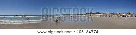 Florianopolis, Santa Catarina, Brazil - January 18, 2010: Panoramic view in Brazil of a Brazilian horizon on water and a beach called Joaquina located in Florianopolis city in Santa Catarina state.