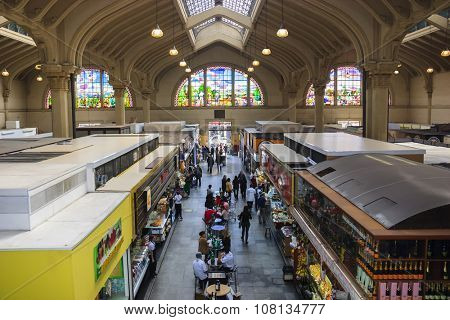 Sao Paulo, Brazil - Aug 11, 2010. Municipal Market (Mercado Municipal) is located in downtown in Sao Paulo and the building occupies 12,600 square meters of built area.