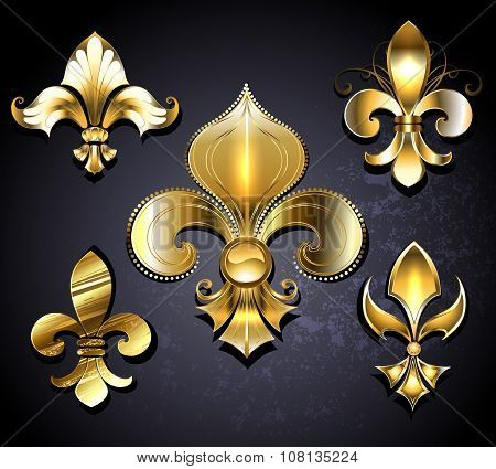 Set Of  Golden Fleur De Lis