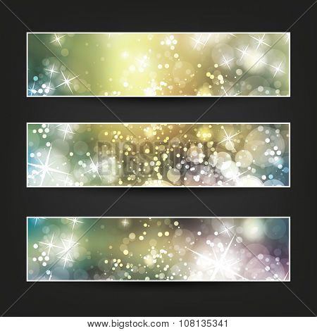 Set of Horizontal Banner or Cover Background Designs - Colors: Yellow, Green, White - Party, Christmas, New Year or Other Holiday Ad Banner Templates