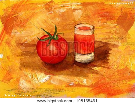 A watercolour drawing of a tomato and a shot of tomato juice on an artistic acrylic background