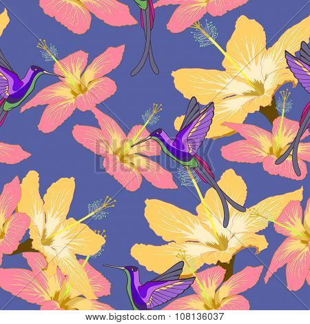 Seamless Pattern With Hibiscus Flowers And Hummingbird On Blue Background