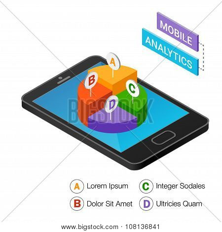 3D Smartphone With Graphs In The Isometric Projection Isolated On A White Background.  Mobile Analyt