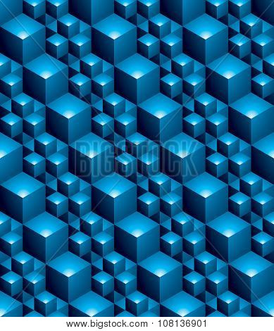 Blue abstract textured geometric seamless pattern. Vector bright textile backdrop with 3d cubes