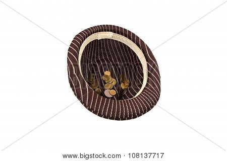Brown hat with money on white background
