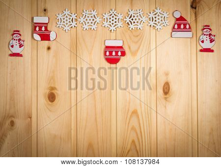 Wooden Christmas Figurines Snowmen, Snowflakes, Christmas Tree, Hat And Stockings