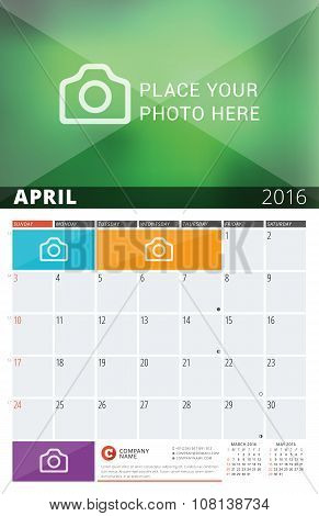 Wall Calendar Planner For 2016 Year. Vector Design Print Template With Place For Photos And Notes. W