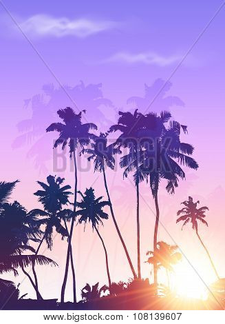 Violet sunrise palms silhouettes poster background