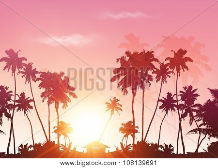 Vector palms silhouettes at pink sunset sky