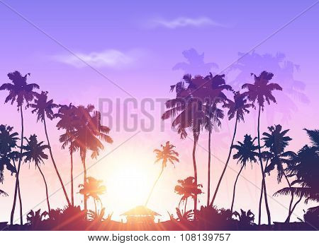 Vector palms silhouettes at purple sunset sky