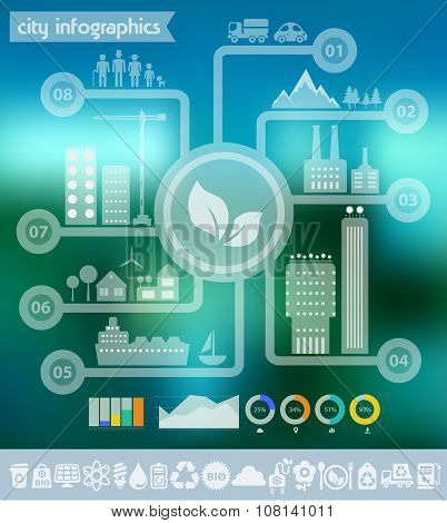lat vector eco city infographics template
