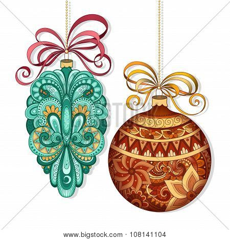 Vector Ornate Colored Christmas Decorations
