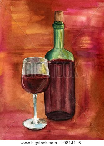 A watercolor drawing of a glass and a bottle of red wine on a colourful background