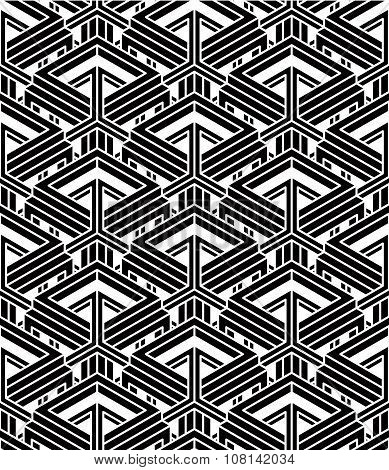 Monochrome Abstract Vector Endless Background, Three-dimensional Repeated Pattern. Decorative