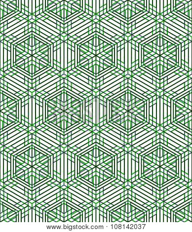 Endless green pattern graphic design. Geometric intertwine illusive composition
