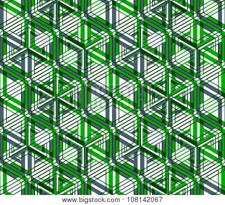 Graphic seamless abstract pattern regular geometric colorful 3d background. Green ornament backdrop