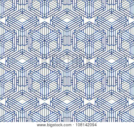 Endless Blue overlay Pattern, Graphic Design. Geometric Intertwine Optical Composition