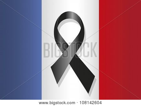 France Flag Black Ribbon