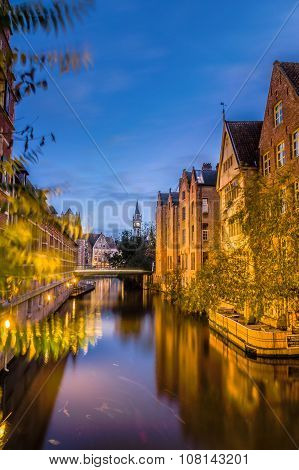 Beautiful view of Lieve river with bridge in Ghent