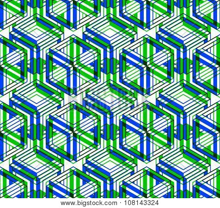 Seamless green ornamental pattern with three-dimensional geometric shapes.
