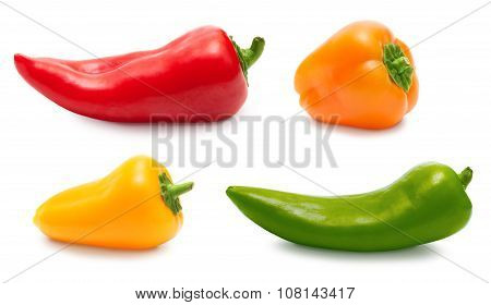 Pepper set isolated over white, clipping path
