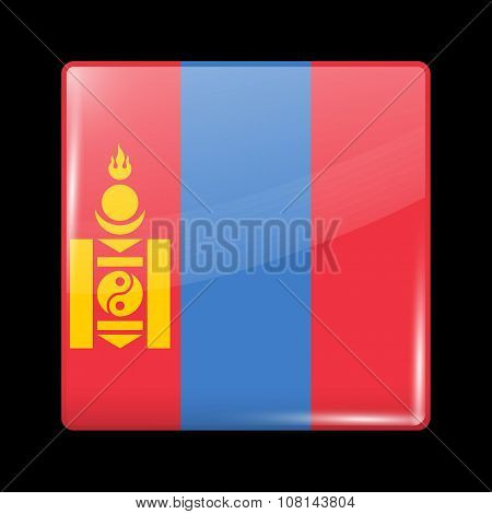 Flag Of Mongolia. Glassy Icon Square Shape