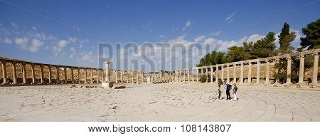 Ruins Of The Famous Archaeological City Of Jerash In Jordan