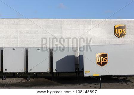 UPS logo on a facade in logistic center