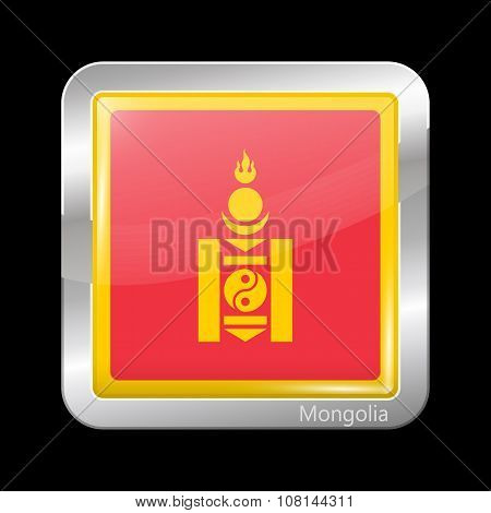 Mongolia Variant Flag. Metallic Icon Square Shape
