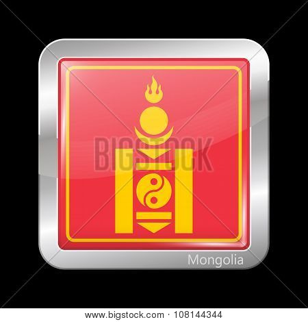 Mongolian Soyombo. Metallic Icon Square Shape