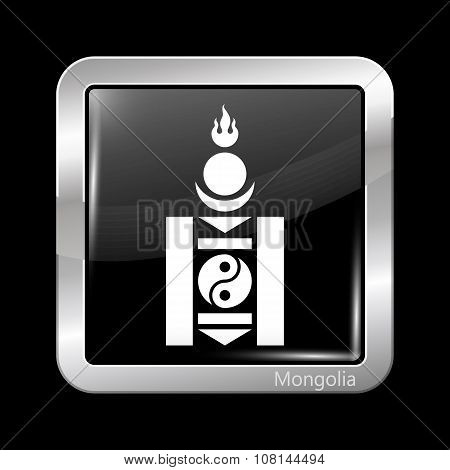 Mongolian Soyombo In Black And White. Metallic Icon Square Shape