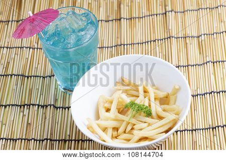 Fresh French Fries And Blue Punch