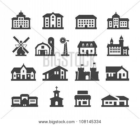 house icons set. collection elements hotel, real estate, school, castle, palace, church, store, shop