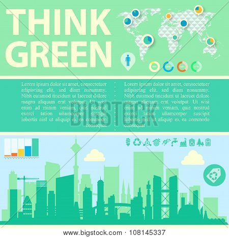Think Green Vector illustration with downtown and infographics