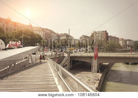 City Scape Of Bridge Danube River In Schwedenplatz - Vienna