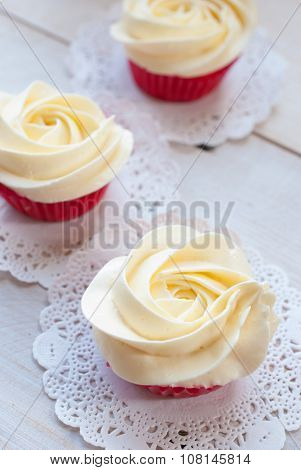 home made cupcakes chiffon with flower cream